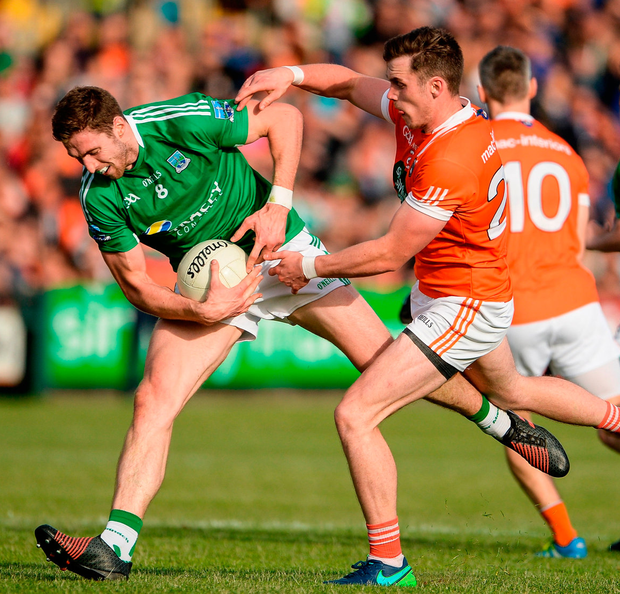 Eoin Donnelly of Fermanagh in action against Ciaran O'Hanlon of Armagh during the All-Ireland Senior Championship Round 1B match at the Athletic Grounds, Armagh. Photo: Oliver McVeigh/Sportsfile
