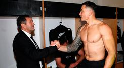 Sonny Bill Williams and assistant coach Wayne Smith congratulate each other in the dressing room after the victory over the Lions. Photo: Getty