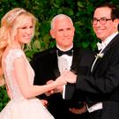 US Vice-President Mike Pence officiates at the wedding of Louise Linton and Treasury Secretary Steven Mnuchin in Washington DC. Photo: Kevin Mazur/Getty Images