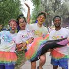 From left: Elena Manjol, Claudia Checcacci, Niklas Alm and Thierry Marimoutou, all from Cork city, at yesterday's Colour Dash in Cork. Photo: Provision
