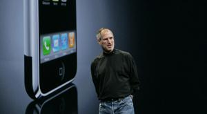 Late Apple CEO Steve Jobs talks about the iPhone at the Apple Developers Conference in San Francisco in June 2007. Photo: AP