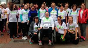 Susan (centre) with friends who took part in the Vhi Women's Mini Marathon