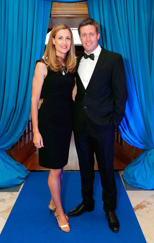 Jessica and Ronan O'Gara at the launch of the SoftCo Foundation at Dun Laoghaire Golf Club