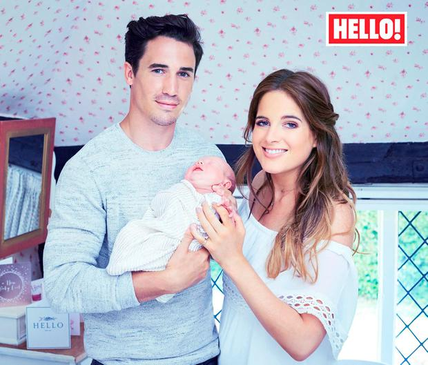 Josh 'JP' Patterson with girlfriend Binky Felstead and baby daughter India in the new issue of Hello! magazine. Picture: Hello! Magazine/PA Wire