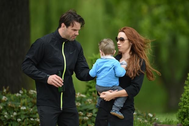 Una Healy, Ben Foden and their second child son Tadgh, who is now two, as Healy has told how she struggled with postnatal depression after giving birth to their son. Photo credit : Joe Giddens/PA Wire