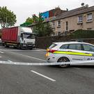 Gardai at the scene of the road traffic incident at South Circular Road. Photo: Arthur Carron