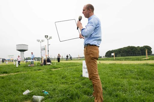 Andrew McNamee from Letterkenny demonstrating the quadrant and Shears method of measuring grass at the Teagasc Sheep Open day. Photo: Andrew Downes