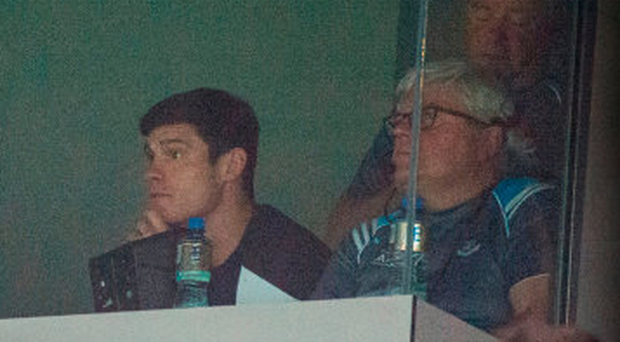 Suspended Dublin player Diarmuid Connolly watches the Westmeath game from the Hogan Stand. Photo: Sportsfile