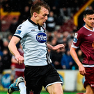 David McMillan of Dundalk in action against Conor Winn of Galway United during the SSE Airtricity League Premier Division match between Dundalk and Galway United at Oriel Park in Dundalk. Photo: Sportsfile