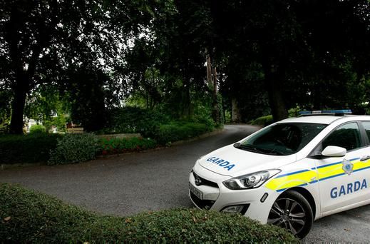 Gardaí at Pollerton Castle on the outskirts of Carlow where a woman in her 50s was found following an assault. Photos: Gerry Mooney