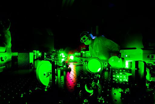 Handout photo issued by the University of Nebraska-Lincoln of a scientist at work in the Extreme Light Laboratory at the university, where physicists generated the brightest light ever produced on Earth. Photo: University of Nebraska-Lincoln/PA