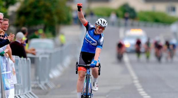 Lydia Boylan winning the women's race at the National Road Race Championships in Wexford. Photo: Stephen McMahon/Sportsfile