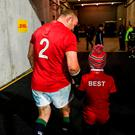 Rory Best of the British & Irish Lions and his son Ben following the match between Hurricanes and the British & Irish Lions at Westpac Stadium in Wellington, New Zealand. Photo by Stephen McCarthy/Sportsfile