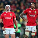 British and Irish Lions' Rory Best (left) and Courtney Lawes appear dejected during the tour match at the Westpac Stadium