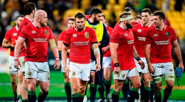 British and Irish Lions players, including Dan Biggar, centre, following the match between Hurricanes and the British & Irish Lions at Westpac Stadium in Wellington, New Zealand. Photo by Stephen McCarthy/Sportsfile