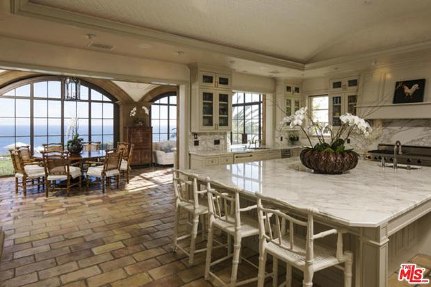 The kitchen on the Mailbu home, which is currently listed for sale on Zoopla for $54.5m (48.4m)