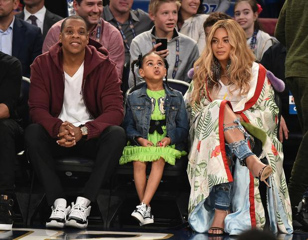 Jay Z, Blue Ivy Carter and Beyonce Knowles attend the 66th NBA All-Star Game at Smoothie King Center in February