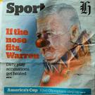 A general view of the front page of New Herald featuring British & Irish Lions head coach Warren Gatland mocked up as a clown during the match between Hurricanes and the British & Irish Lions at Westpac Stadium in Wellington, New Zealand. Photo by Stephen McCarthy/Sportsfile