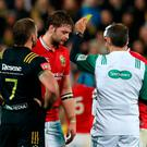 Iain Henderson of the Lions is shown a yellow card by Referee Romain Poite of France during the 2017 British & Irish Lions tour match between the Hurricanes and the British & Irish Lions at the Westpac Stadium