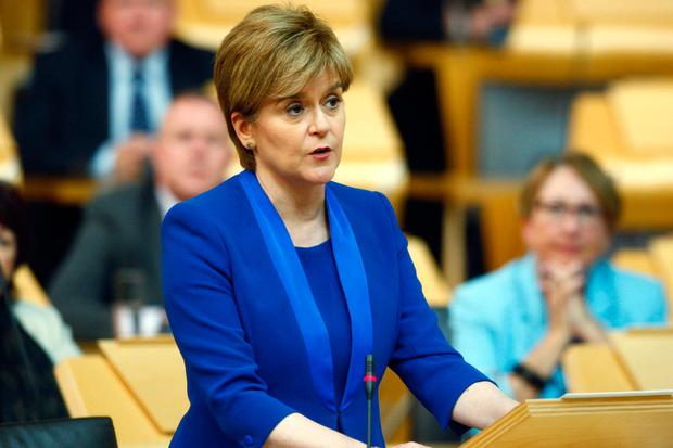 Nicola Sturgeon at the Scottish Parliament in Edinburgh, as she sets out her position on a second independence referendum. Photo: Andrew Cowan/PA Wire