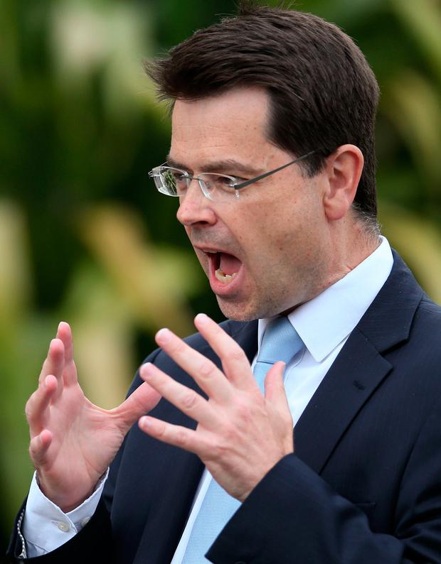 Northern Ireland Secretary James Brokenshire speak to the media outside Stormont Castle as round-table all-party talks aimed at resurrecting political powersharing continues. Photo: Niall Carson /PA Wire