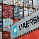 This file photograph taken on August 30, 2010, shows containers from the Danish sea transport company Maersk stacked at the North port terminal in Bremerhaven, northern Germany. / AFP PHOTO / PATRIK STOLLARZPATRIK STOLLARZ/AFP/Getty Images