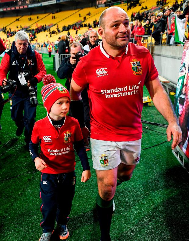 Rory Best with his son Ben after the game. Photo by Stephen McCarthy/Sportsfile
