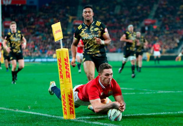 British and Irish Lions' George North scores only for it to be disallowed. Photo: David Davies/PA Wire
