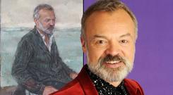 Graham Norton with his portrait, by Gareth Reid