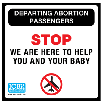 One of the banners which the ICBR is being refused permission to display at airports