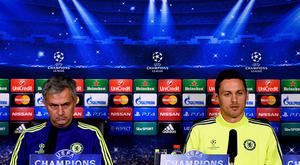 Chelsea manager Jose Mourinho and Nemanja Matic of Chelsea speak to the media during the Chelsea FC Press Conference ahead of the UEFA Champions League Group G match against NK Maribor at the Chelsea training ground on October 20, 2014 in Cobham, United Kingdom. (Photo by Mike Hewitt/Getty Images)