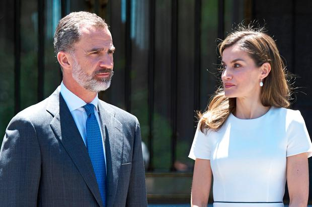 King Felipe of Spain and Queen Letizia of Spain receive Slovenian President Borut Pahor (C) at the Zarzuela Palace on June 27, 2017 in Madrid, Spain. (Photo by Carlos Alvarez/Getty Images)