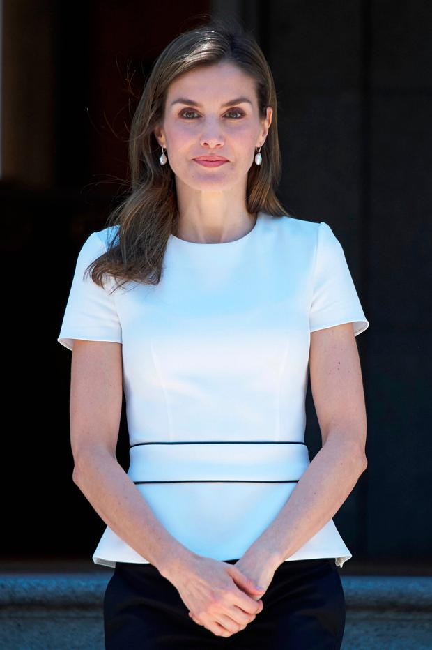 Queen Letizia of Spain receives Slovenian President Borut Pahor at the Zarzuela Palace on June 27, 2017 in Madrid, Spain. (Photo by Carlos Alvarez/Getty Images)