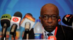 Jack Warner, the Chairman of the Organising Committee, attends a press conference ahead of the FFIFA U20 World Cup, at the Conrad Hotel on September 23, 2009 in Cairo, Egypt. (Photo by Shaun Botterill - FIFA/FIFA)