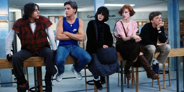 Judd Nelson, Emilio Estevez, Ally Sheedy, Molly Ringwald and Michael Hall in The Breakfast Club