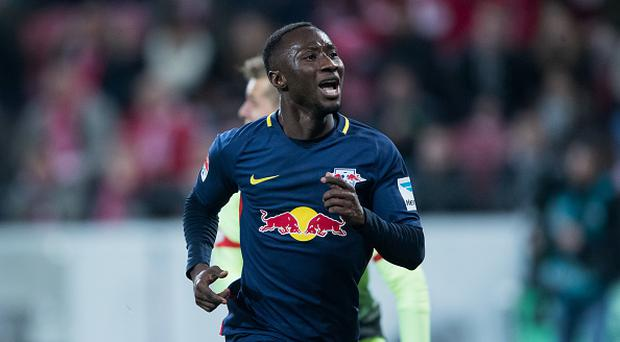 Naby Keita of Leipzig celebrates his team's third goal during the Bundesliga match between 1. FSV Mainz 05 and RB Leipzig at Opel Arena on April 5, 2017 in Mainz, Germany. (Photo by Simon Hofmann/Getty Images)