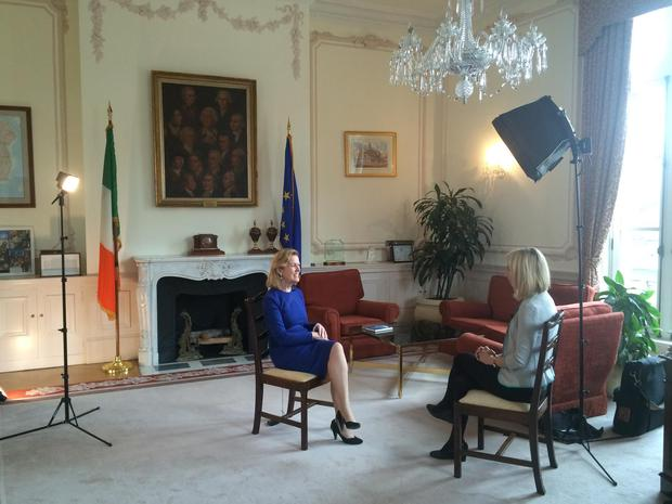 RTE Washington Correspondent Caitriona Perry interviews Ireland's Ambassador to the US Anne Anderson