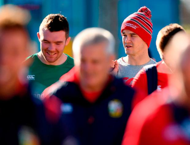 Warren Gatland (centre) has dropped last week's captain Peter O'Mahony (left), while Jonathan Sexton starts. Photo by Stephen McCarthy/Sportsfile
