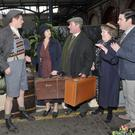 'Angela's Ashes: The Musical' cast members Emmet Byrne (Malachy Junior), Jacinta Whyte (Angela), Marty Maguire (Malachy), Clare Barrett (GrandMa) and Eoin Cannon (Frank). Photo: Patrick O'Leary