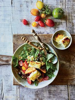 Heirloom Tomato and Griddled Feta on Orzo with Lemon Dressing Recipe: Louise Pickford, Photography: Clare Winfield