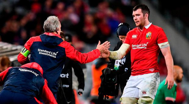 Peter O'Mahony is substituted during the Lions defeat to New Zealand last weekend. Photo by Stephen McCarthy/Sportsfile