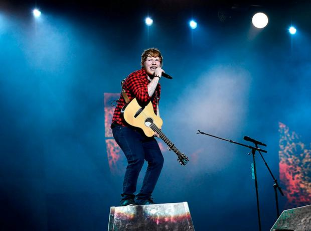 Ed Sheeran performs on the Pyramid Stage during Glastonbury. Photo: REUTERS