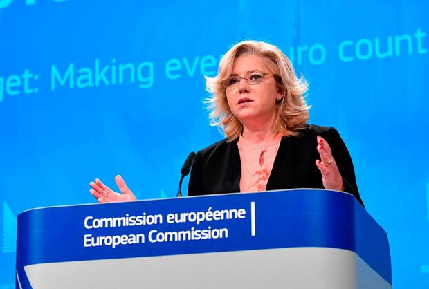 EU Commissioner for regional policy Corina Cretu addresses a press conference on the future of the EU Budget. Photo: AFP/Getty Images
