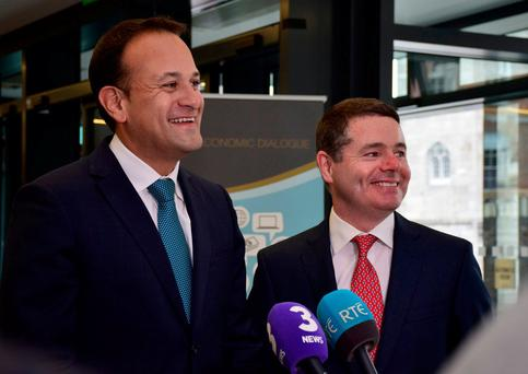 Paschal Donohoe and Leo Varadkar at the National Economic Dialogue event yesterday. Photo: Claire Godkin