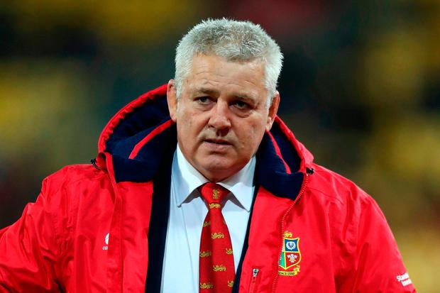 Warren Gatland the head coach of the Lions looks on prior to kickoff during the 2017 British & Irish Lions tour match between the Hurricanes and the British & Irish Lions at the Westpac Stadium (Photo by David Rogers/Getty Images)