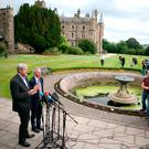 Sinn Fein's John O'Dowd (left) and Mairtin O Muilleoir talk to the media following talks aimed at restoring powersharing in Northern Ireland as parties mount a last-ditch effort to strike a deal ahead of Thursday's deadline, at Stormont Castle in Belfast. Photo: Brian Lawless/PA Wire