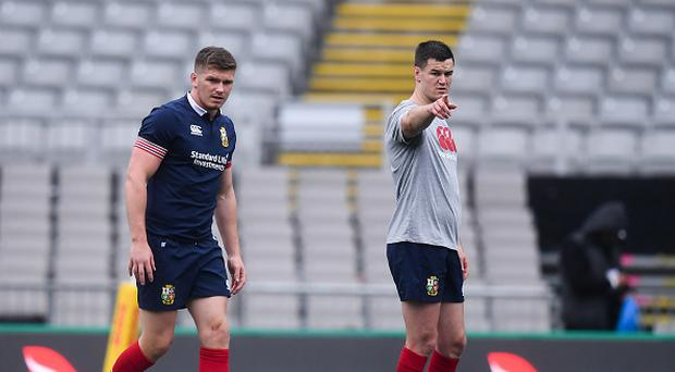 Owen Farrell, left, and Jonathan Sexton of the British and Irish Lions during their captain's run at Eden Park in Auckland, New Zealand. (Photo By Stephen McCarthy/Sportsfile via Getty Images)