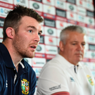 22 June 2017; Peter O'Mahony and British and Irish Lions head coach Warren Gatland during a press conference at QBE Stadium in Auckland, New Zealand. Photo by Stephen McCarthy/Sportsfile