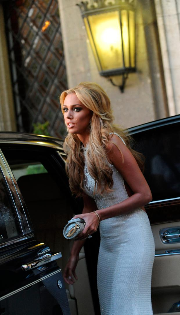 Petra Ecclestone, the soon-to-be-married daughter of F1 chief Bernie Ecclestone, leaves a hotel in central Rome, on August 26, 2011