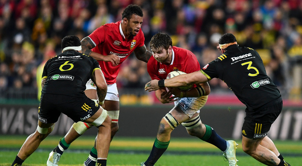 27 June 2017; Iain Henderson of the British & Irish Lions is tackled by Jeff Toomaga-Allen of of the Hurricanes during the match between Hurricanes and the British & Irish Lions at Westpac Stadium in Wellington, New Zealand. Photo by Stephen McCarthy/Sportsfile